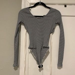 Forever21 Blue & White Striped Bodysuit